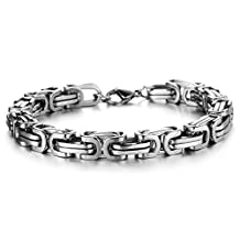 "Lohome Fashionable Anti-fatigue Men's Bracelet Titanium Steel Chain Belt Boy's Wrist Bangle in a Gift Box L8.6"""