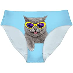 FOR U DESIGNS Cute Cat Bright Style Women's Smooth Briefs Panties Underwear XL