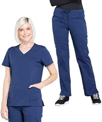 3ab6753ff48 Cherokee Workwear Professionals Women's Mock Wrap Top WW655 & Drawstring  Pant WW160 Scrub Set