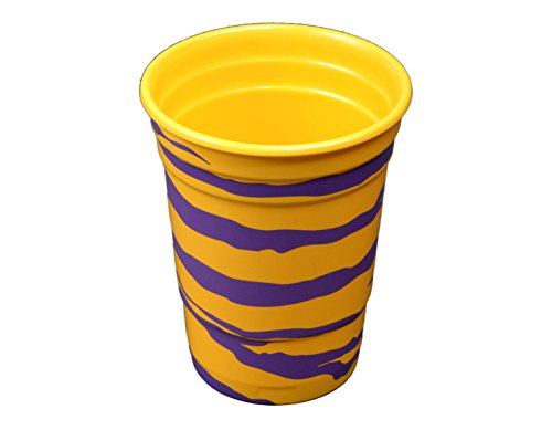 Havercamp Party Cups, LSU Purple and Yellow Tiger Stripe, 16 oz., 2-pack, Melamine, Team Colors Party Collection