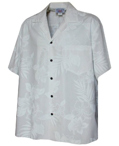 - Pacific Legend Mens White Wedding Tropical Floral Hawaiian Shirt (L)
