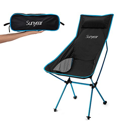 Sunyear Innovative Foldable Camp Chair, Stuck-slip-proof Feet, High Back, Headrest, Super Comfort Ultra light Heavy Duty, Perfect for the Park/Hiking/Fishing/Beach/Sport
