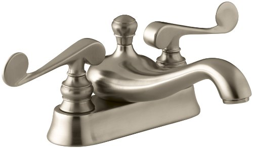 KOHLER K-16100-4-BV Revival Centerset Lavatory Faucet with Scroll Lever Handles, Vibrant Brushed -
