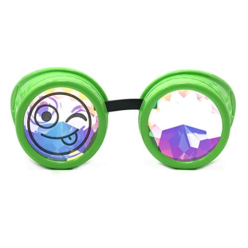 3D Rainbow Prism Kaleidoscope Rave Glasses, Diffraction Steampunk Goggles, neon Green, Goofy -