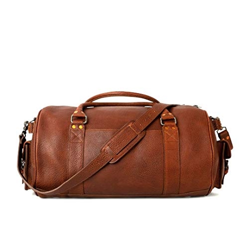 Full Grain Bison Leather Duffle Bag for Men | Ryder Reserve by Buffalo Jackson | Large Size for Travel Overnight Weekend or Sports | Made in North America | Brown