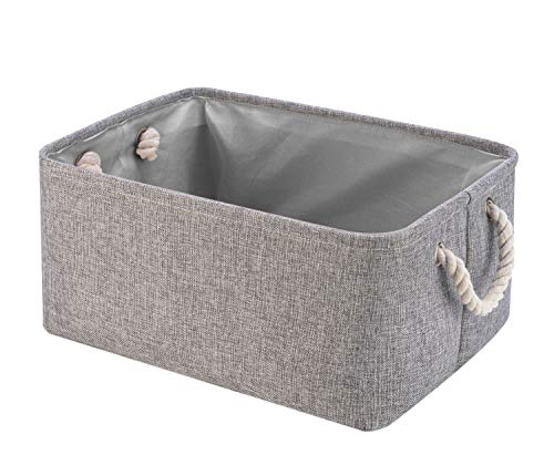 Collapsible Storage Basket Bins, Decorative Foldable Rectangular Linen Fabric Storage Box Cubes Containers with Handles- Large Organizer For Nursery Toys,Kids Room,Towels,Clothes, Grey -