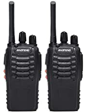 BaoFeng BF-888S(BF-88A) FRS Radio Walkie Talkie 0.5W 16-Channel Two Way Radio with Earpiece, LED Flashlight, USB Charger 2 Pack