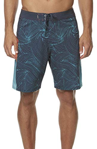 (O'Neill Men's Water Resistant Hyperfreak Stretch Swim Boardshorts, 19 Inch Outseam (Midnight/Swerve, 38))
