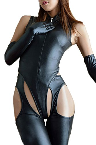 Velius Women's Sexy PU Leather Front Zipper Crotchless Cosplay Bodysuit Outfit Lingerie Clubwear (Small)