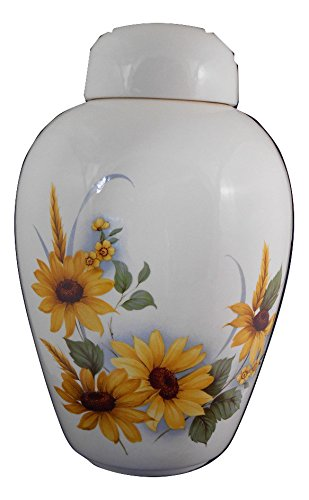 Sunflower Funeral Urn - Cremation Urn for Human Ashes - Hand Made Pottery