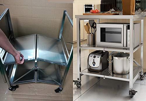 LALACarrito de cocina plegable, almacenamiento de horno microondas ...