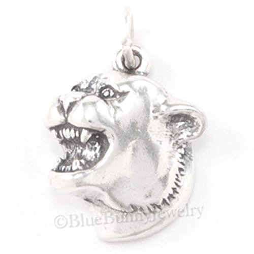 COUGAR HEAD panther mascot University Pendant wild Cat Charm 925 STERLING SILVER Jewelry Making Supply Pendant Bracelet DIY Crafting by Wholesale - Bracelet Head Wildcat