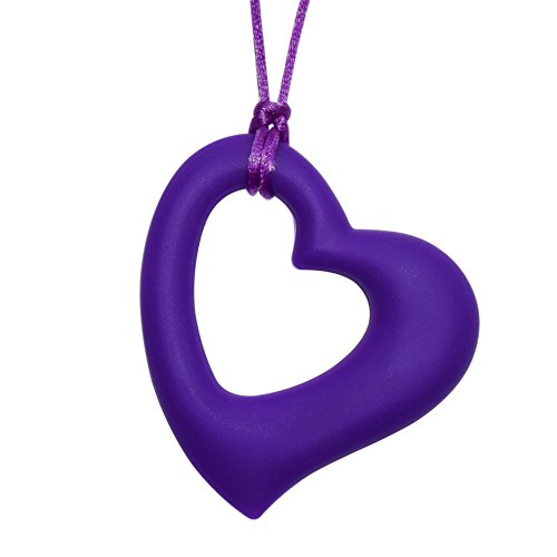 Munchables Chewelry Oral Motor Aide - Chewable Sensory Beloved Heart Pendant (Purple) by Munchables Chewelry