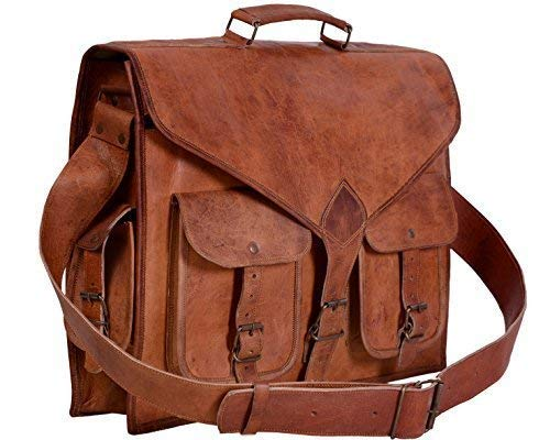 KPL 18 Inch Rustic Leather Messenger Laptop Bag