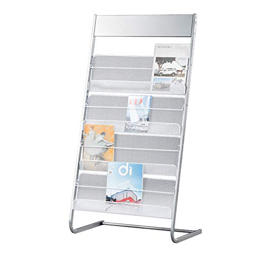 Magazines and Brochures Stand with Wheels, Literature Display Stand with 4 Shelves Floor Standing Magazine Brochure Holder Rack, Sliver/Grey (A)