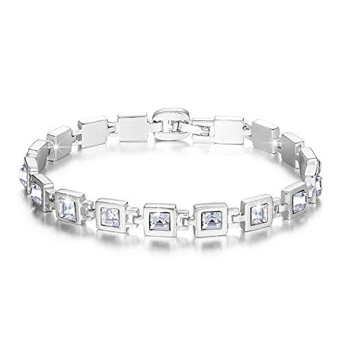 Swarovski Crystal Bangle (Christmas Valentine's Day Gift - Jing Chow Swarovski Elements Crystal Tennis Bracelet for Girls & Women,)