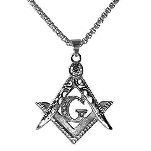 Ahappy Men stainless steel Freemasonry Masonic Mason Pendant chain necklace length 19.68