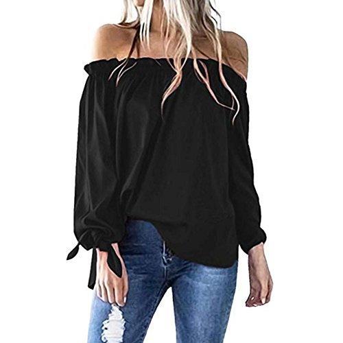 Manches Tunique Froide Longues paule Femmes Bateau Top Dcontract t Shirt Bringbring Blouse Cou Noir wqxfFfRgI