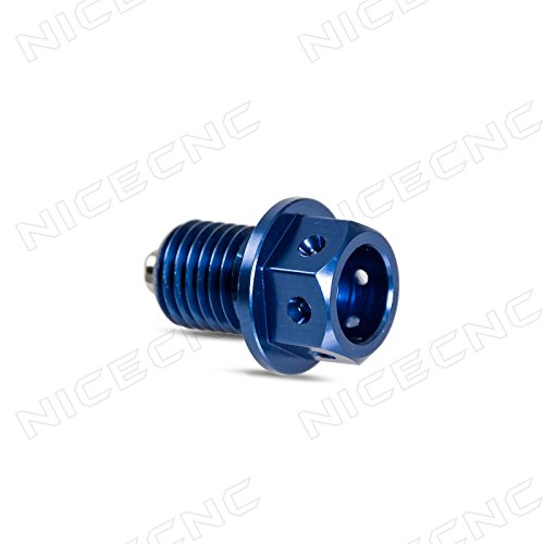 NICECNC 10mm P1.25 Blue Magnetic Oil Drain Plug Bolt for YAMAHA YZ125/YZ250F/450F/WR250F/450F ATV YFM350/600 YFZ450 Rhino 450/700 Cruiser V Star 950/1300 Stryker XVS13 (Oil Yz125)
