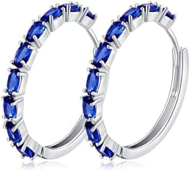 SELOVO Royal Blue Zircon Stone Hinged Hoop Earrings Cushion Cut Silver Tone