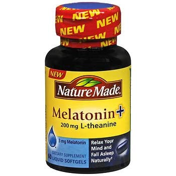 Nature Made Melatonin + L-Theanine 200mg, Softgels 60 Caplets (Pack of 2)