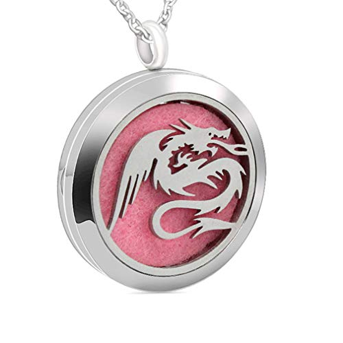 Chaomingzhen Essential Oil Necklace Aromatherapy Diffuser Dragon Stainless Steel Photo Locket Pendant Mom Child Baby
