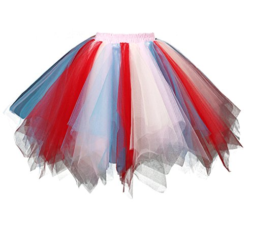 Dressever Vintage 1950s Short Tulle Petticoat Ballet Bubble Tutu Red/Blue/White (Red White Blue Tutu For Girls)