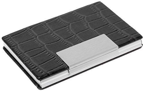 Slim Genuine Crocodile Black Leather with Slate Business Card Holder (Lizard Metallic Print)