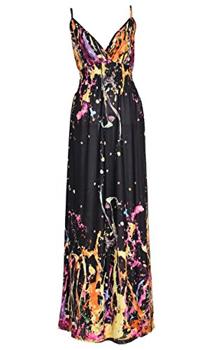 [Plus Size Clothing Maxi Dress Women Floral Sexy V Neck Summer Beach Party Sundress (2X-Long 60 inches, Black/] (Cheap Plus Size Fancy Dress)