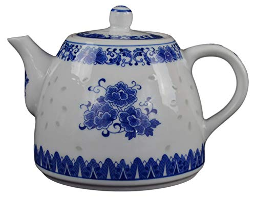 (Large Teapot Blue and White Porcelain 6 Cup Store 56 Ounce China, Coffee Pot)