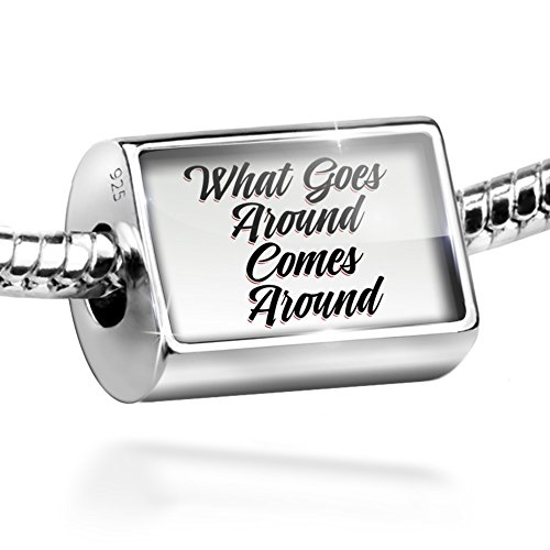 What Goes Around Vintage - Sterling Silver Bead Vintage Lettering What Goes Around Comes Around Charm by NEONBLOND