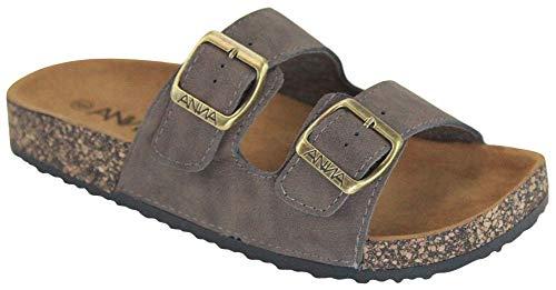 ANNA Footwear Women's Casual Buckle Straps Sandals Flip Flop Platform Footbed (10, Brown Suede)