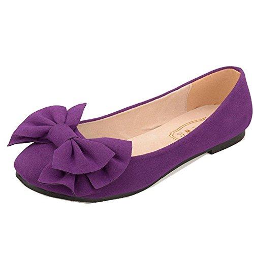 Fonshare Women's Big Bow Shoes Low Heel Dress Flats Shoes Large Sizes Purple 10 M US Purple Designer Shoes