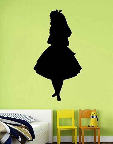 ElegantDecal Alice Silhouette Sticker Alice in Wonderland Vinyl Decal Disney Wall Art Cartoon Fairytale Decorations for Home Kids Girls