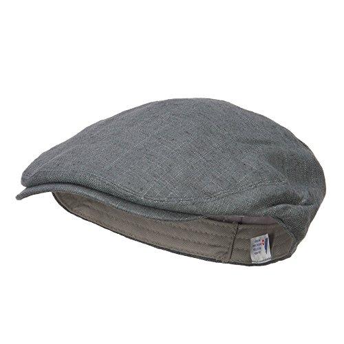 e4Hats.com Men's Linen Summer Ivy Cap - Slate Grey M-L (Lightweight Ivy Cap)