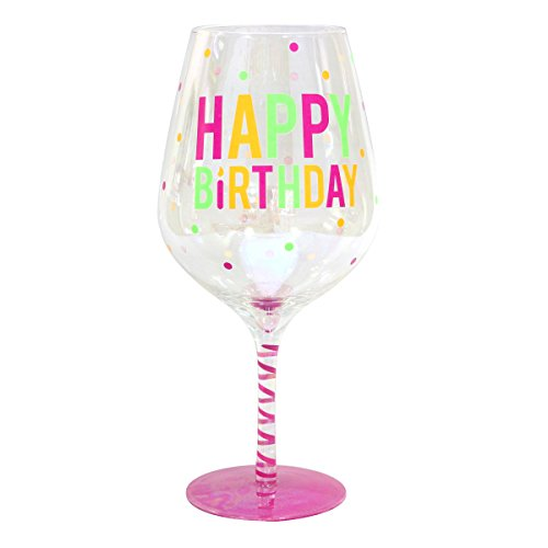 Top Shelf Decorative Luster Glass Oversized Happy Birthday Wine Glass with Gift Box, Unique and Funny Gifts Idea for Friends and Family, Holds 2 Whole Bottles of Wine