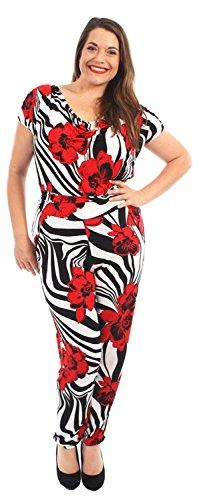 Cap 56 Hareem Damen Kleid Floral Jumpsuits Sleeve Floral 42 Stippy Chocolate Pickle Neue Wasserfallausschnitt ® mit Stripy ITqx6vxnwH