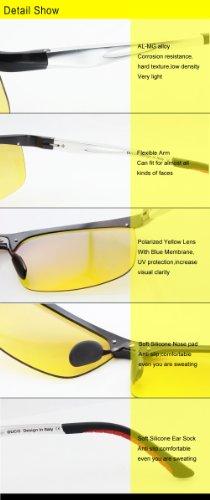 antideslumbrante Amarillo Frame Silver de visión de nocturna gafas Duco Gafas Black polarizadas conducción 2181 qFIgpvKw
