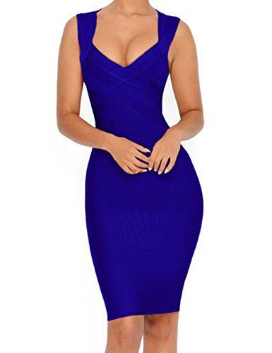 Whoinshop Women's V-Neck Strapless Clubwear Bodycon Bandage Dress (M, - Dresses Most Stylish