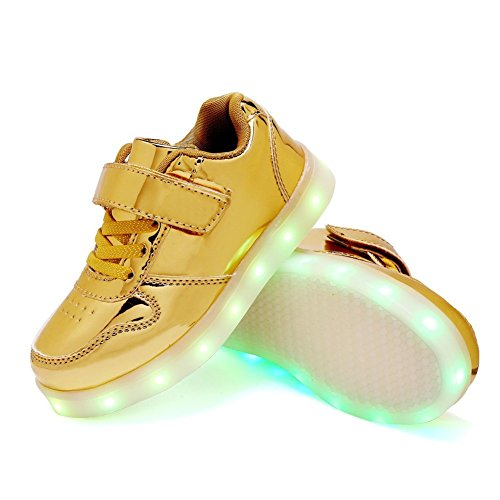LED Light up Lace Up Luminous Sneakers Kids Casual Shoes for Boys Girls Christmas Halloween Gift(Gold 5 M US Big Kid) by Jedi fight back