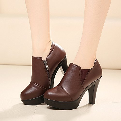 individuales mujer Tacones profunda Boca Jqdyl Brown Cabeza Talón Zapatos Plataforma impermeable de redonda grueso Zapatos ZxUYqAw