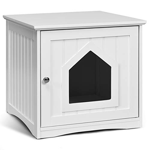 GOPLUS Katzenhaus Weiß, Haustier-Haus aus Holz, Katzenschrank Katzenklo Katzentoilette 51x49x47cm
