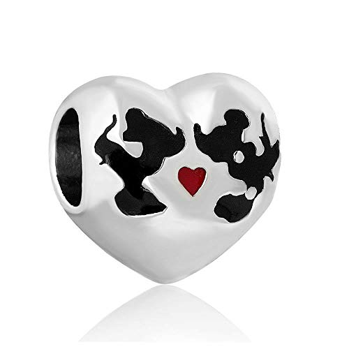 - Mickey & Mini Mouse Kissing on Heart Charm European Compatible Spacer Bead Jewelry Making Supply Pendant Bracelet DIY Crafting by Easy to be happy!