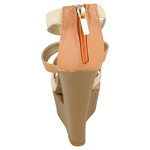 Albicocca arancione L3394 Cut Strappy Zip Out Back Piattaforma Zeppa Donna Sandalo Con vpSq1Www