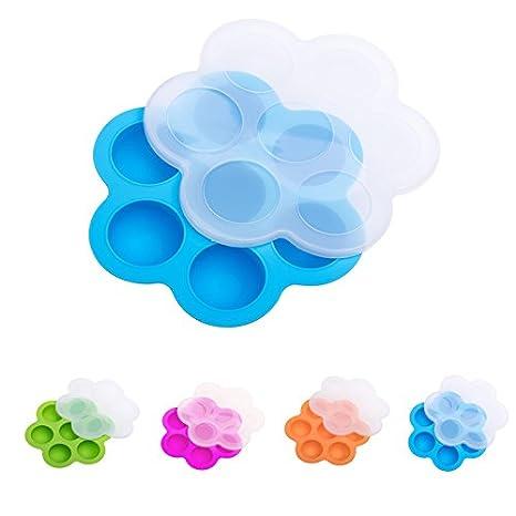 Moldes de silicona para huevos para maceta instant/ánea azul 6.3 x 6.3 x 1.6 Inch silicona contenedor de almacenamiento de alimentos para beb/és y bandeja de congelador con tapa