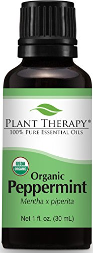 Plant Therapy USDA Certified Organic Peppermint Essential Oil. 100% Pure, Undiluted, Therapeutic Grade. 30 mL (1 Ounce).
