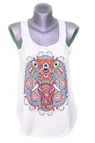 Canotta Top per Donne - Arte Grafica - Animale - Elefante - Indu - Om - Color Crema