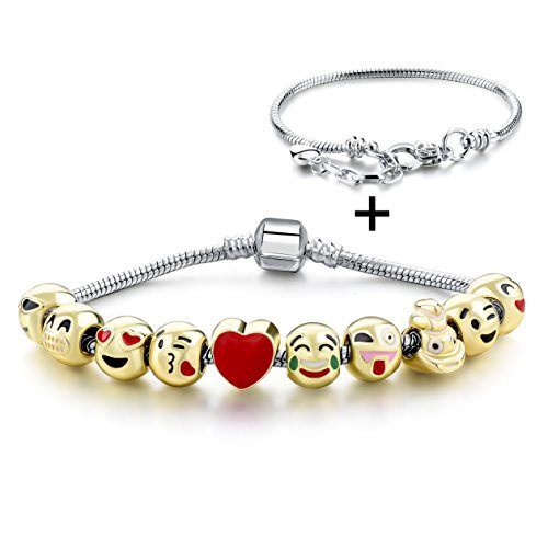 Gold Plated Beaded Charms Bracelet with 10pcs Original Design Enamel Face Beads (Human) - Exclusive Gold Plated Silver Jewellery