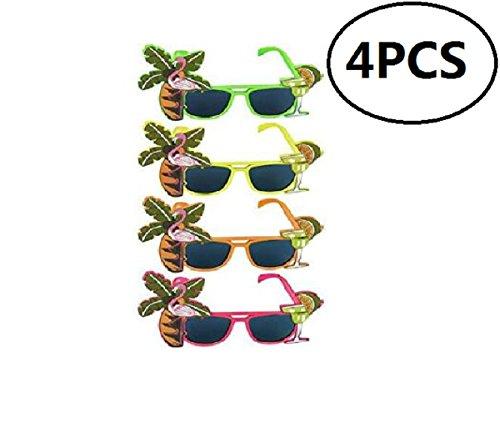 4pcs Hawaiian Tropical Sunglasses Party Glasses Party Costume