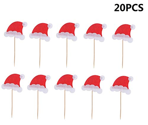 20pcs Christmas Cake Toppers Cupcake Picks for Christmas Party Cake Decoration (Christmas Hat)
